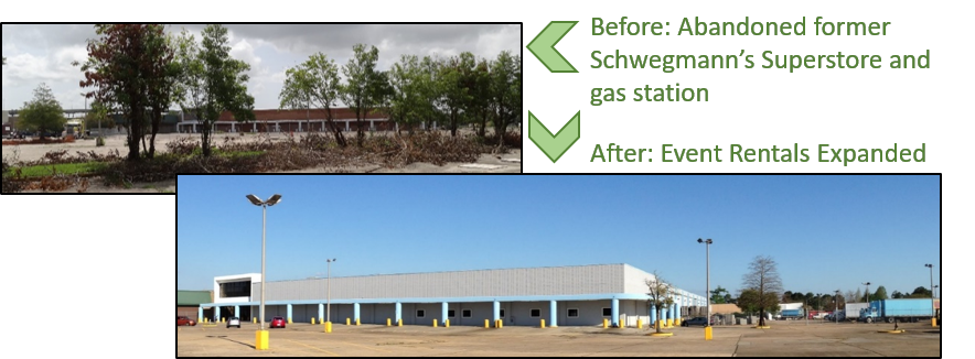 Former Schwegmann's Store in Algiers neighborhood of New Orleans before redevelopment and after redevelopment