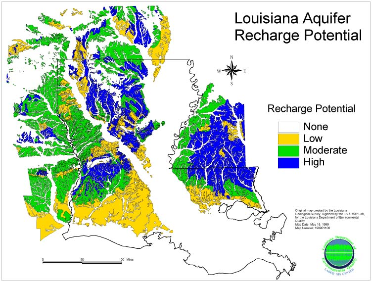 this map shows the aquifer recharge potential across the state of louisiana only it does not depict the individual aquifers